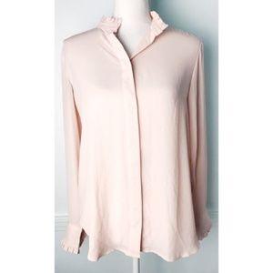 Loft • Pastel Pink Ruffle Blouse